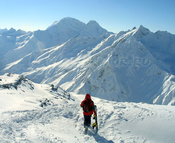 сноубордист на Эльбрусе