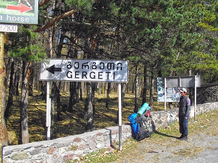 Start of route from Stepantsminda